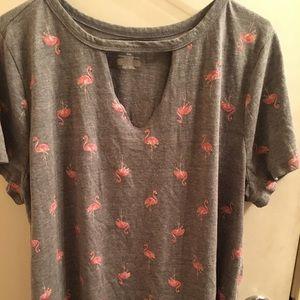 Lane Bryant Pink Flamingo Gray Tee Size 18/20